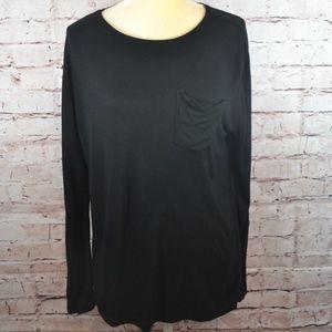 Everlane Black Long Sleeve Knit Top Size Large